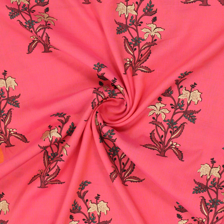 Pink-Golden and Green Floral Jam Cotton Silk Fabric-75163