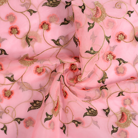 Pink-Golden and Green Floral Organza Embroidery Fabric-51132