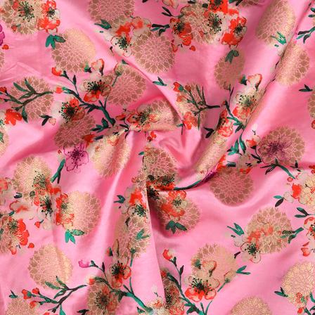 Pink-Golden and Green Flower Design Digital Banarasi Silk Fabric-24039