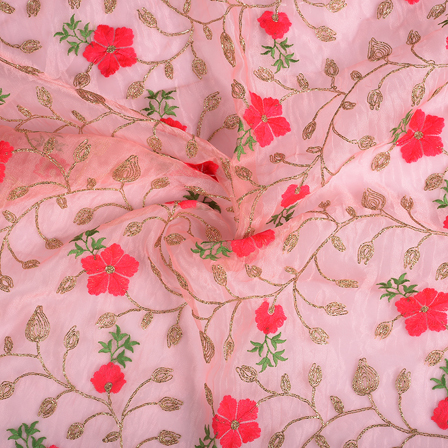 Pink-Golden and Green Flower Organza Embroidery Fabric-51177