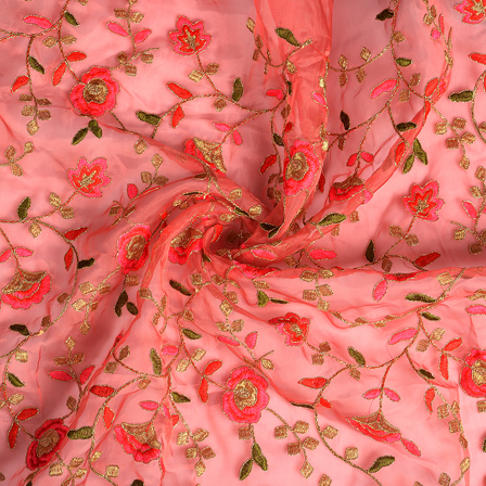 Pink-Golden and Green Flower Organza Embroidery Fabric-51184
