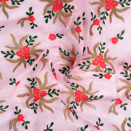 Pink-Golden and Green Flower Organza Embroidery Fabric-51197