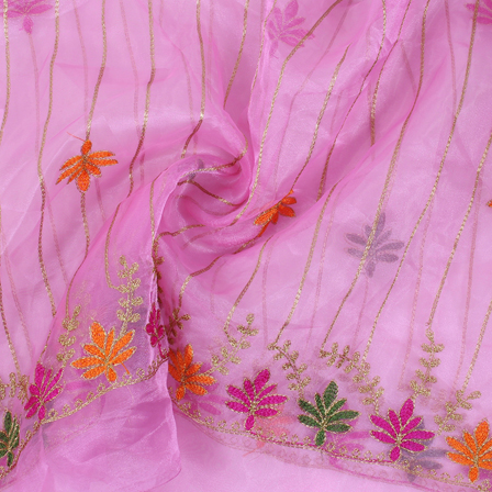 Pink-Golden and Green Flower Organza Embroidery Fabric-51410