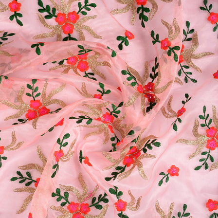 Pink-Golden and Green Organza Embroidery Fabric-51195