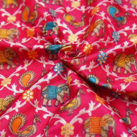 Pink-Golden and Orange Elephant Pattern Kalamkari Manipuri Silk-16125