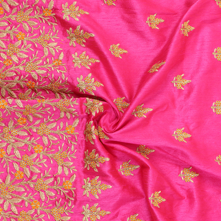 Pink-Golden and Orange Floral Design Silk Embroidery Fabric-60227
