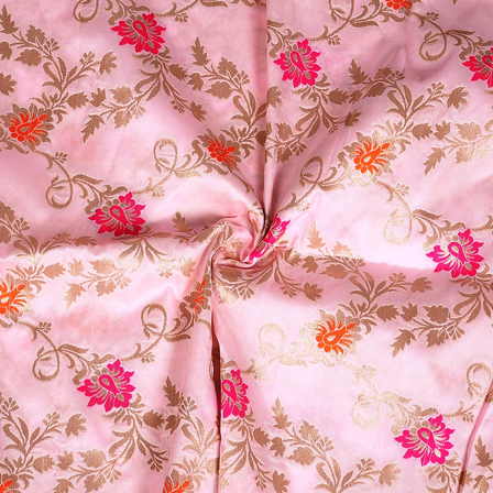 Pink-Golden and Orange Floral Pattern Two Tone Banarasi Silk Fabric-8442