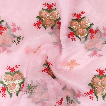 Pink Golden and Peach Floral Embroidery Organza Silk Fabric-51690