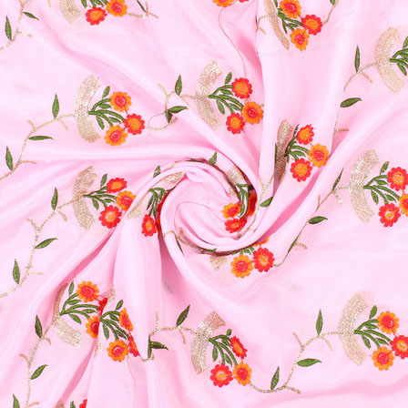 Pink Golden and Pink Flower Embroidery Chinon Fabric-35019