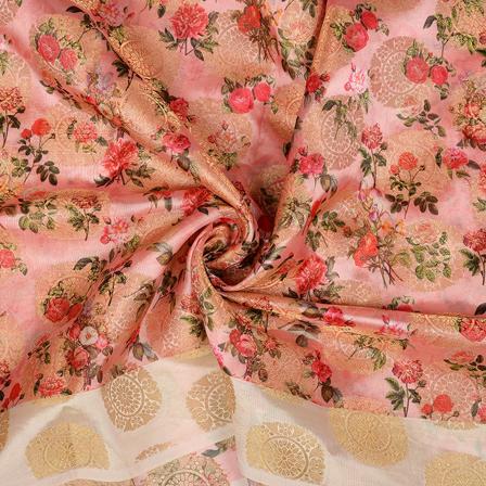 Pink-Golden and Red Flower Digital Banarasi Silk Fabric-24057