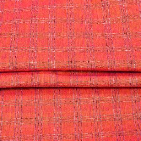 Pink Gray Checks Handloom Fabric-42002