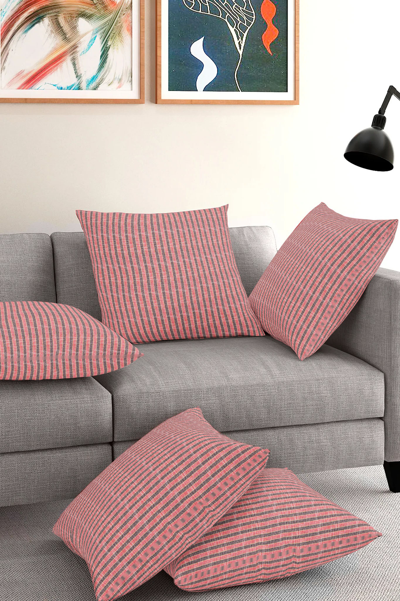 Set of 5-Pink Gray Cotton Cushion Cover-35394-16x16 Inches
