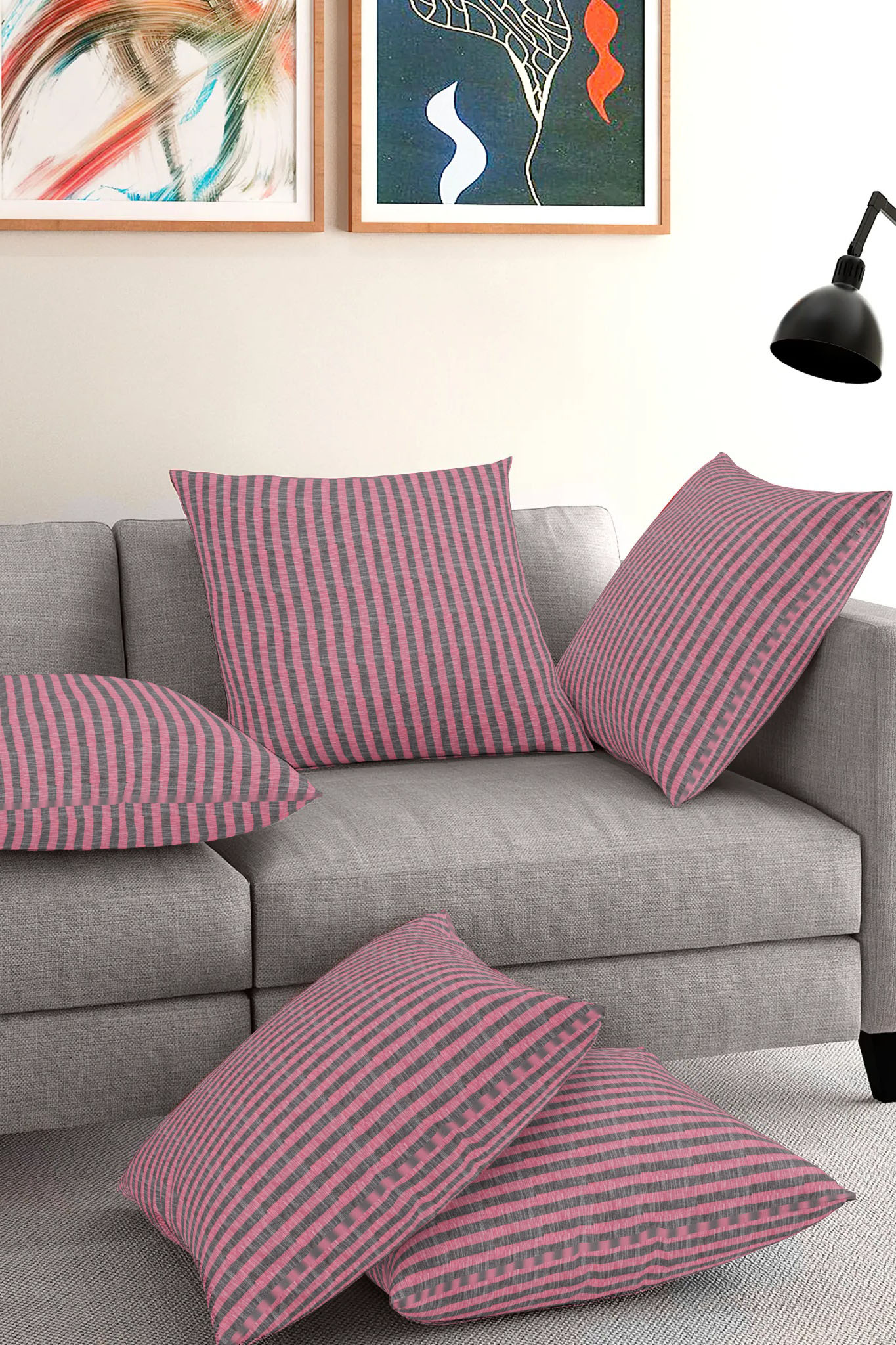 Set of 5-Pink Gray Cotton Cushion Cover-35401-16x16 Inches