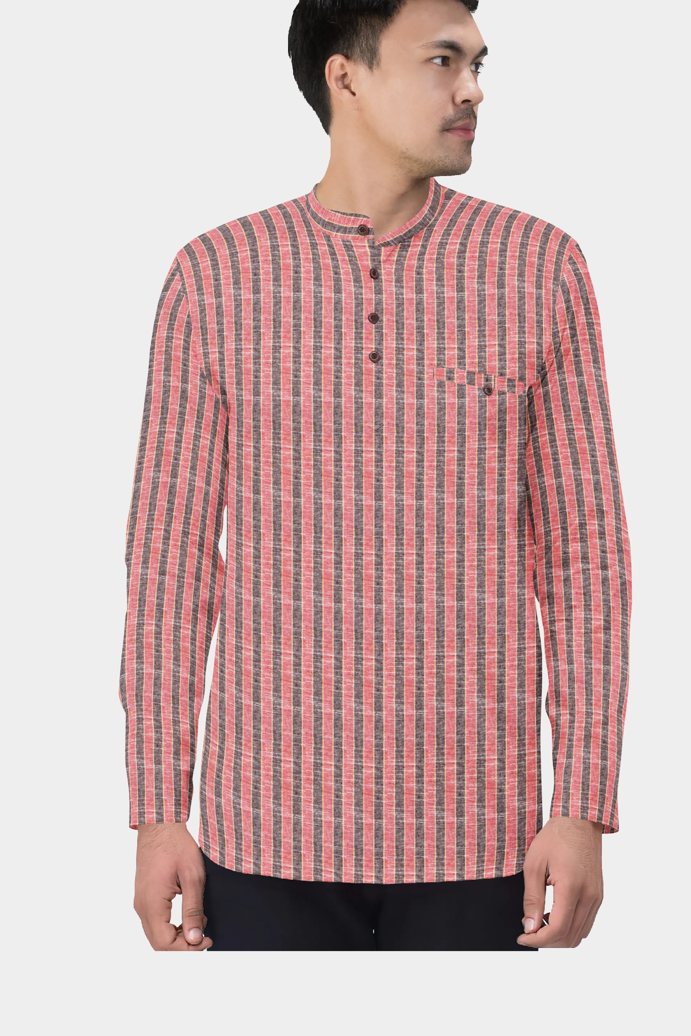 Pink Gray Cotton Striped Short Kurta-35438