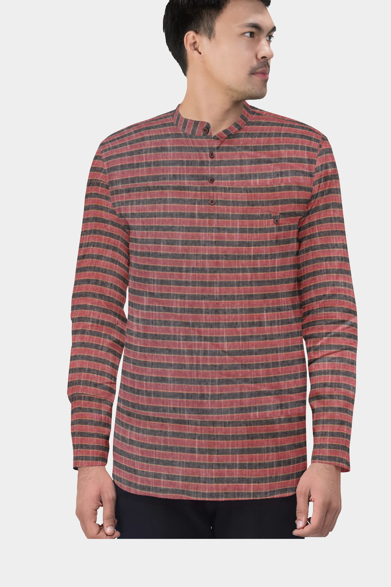 Pink Gray Cotton Striped Short Kurta-35439