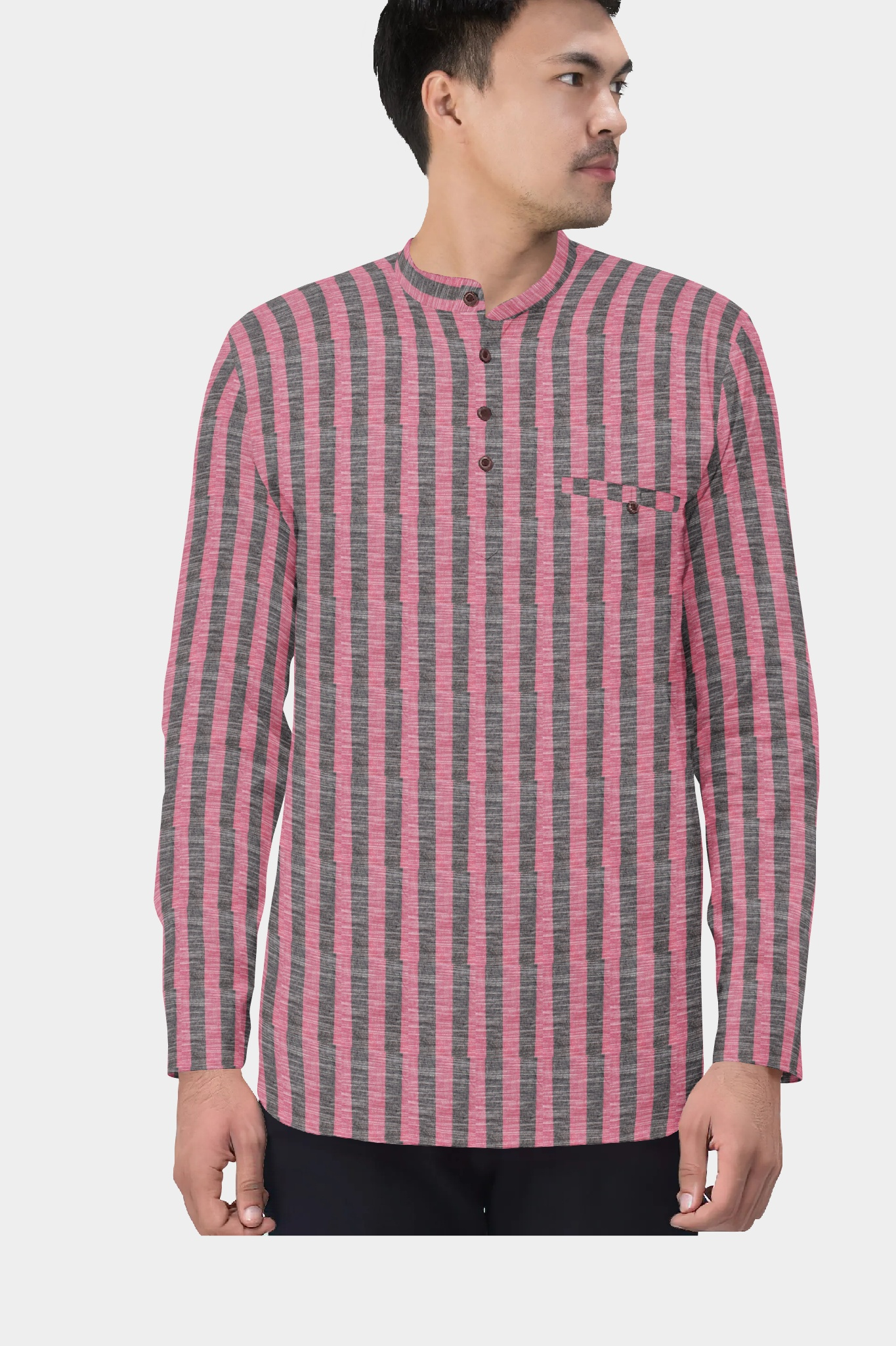 Pink Gray Cotton Striped Short Kurta-35445