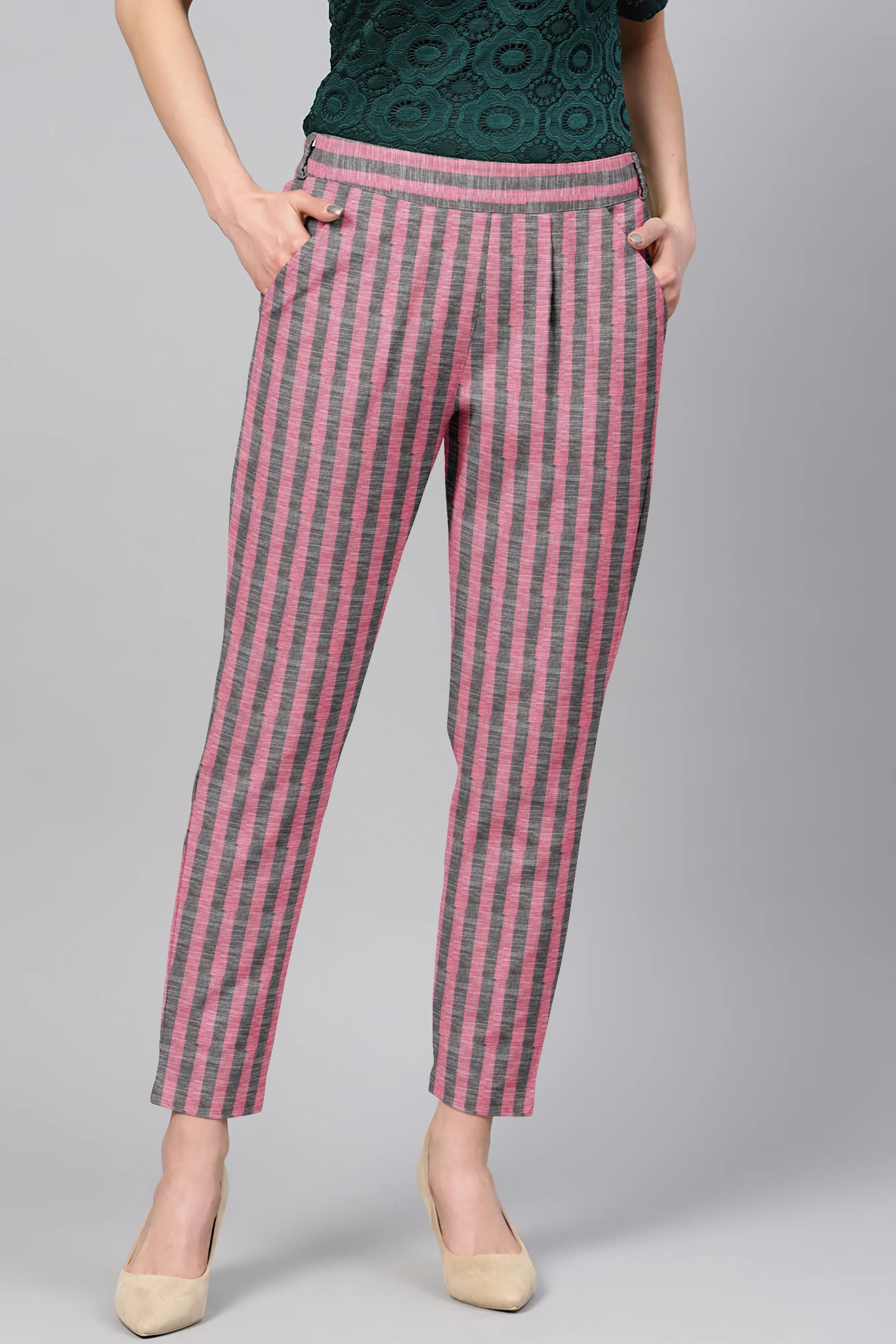 Pink Gray Cotton Stripe Regular Fit Solid Trouser-36107