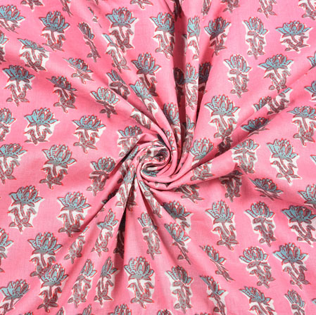Pink Gray Floral Block Print Cotton Fabric-28416