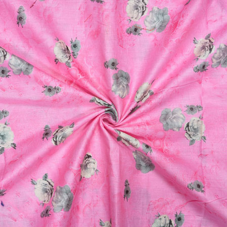 Pink Gray Floral Cotton Print Fabric-28186