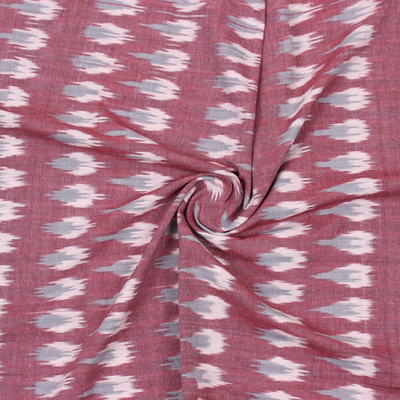 Pink Gray Ikat Cotton Fabric-12332