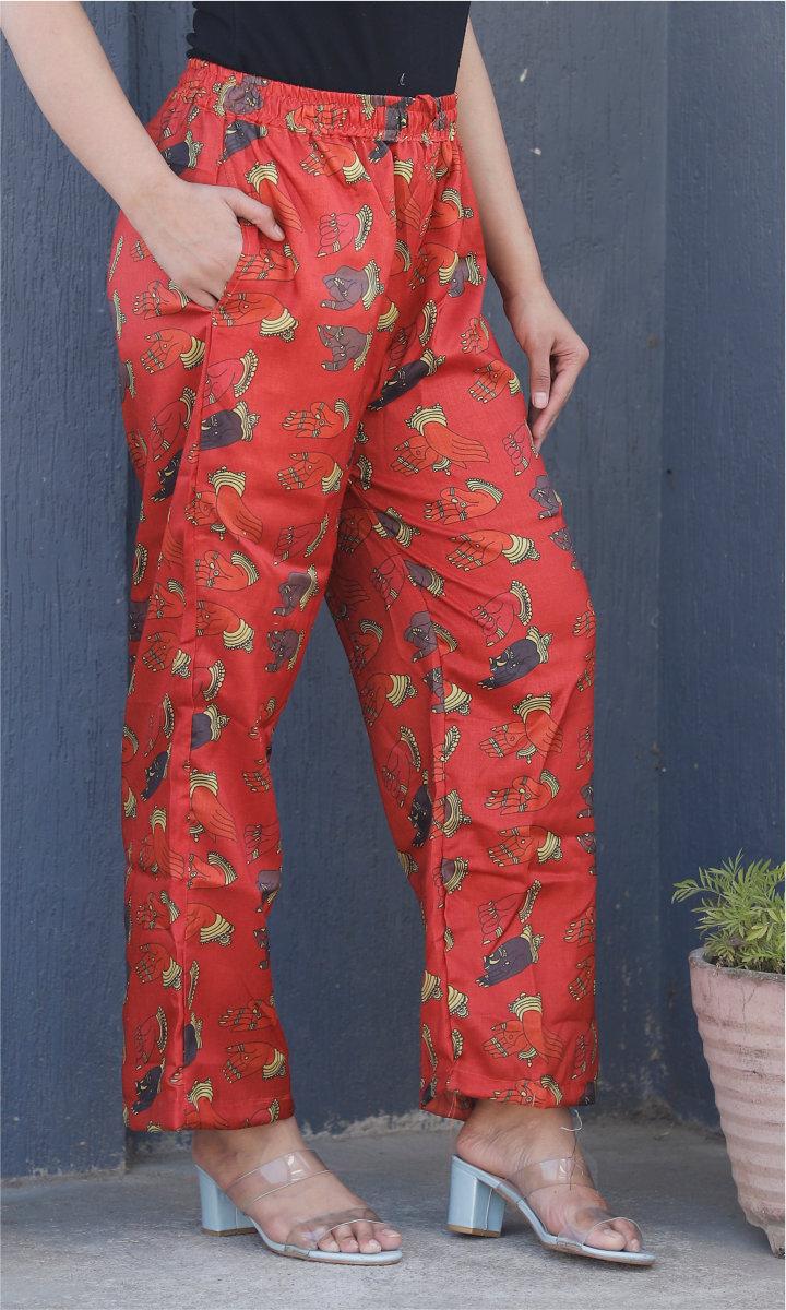 Pink Gray Manipuri Silk Handmudra Palazzo Pant-34492