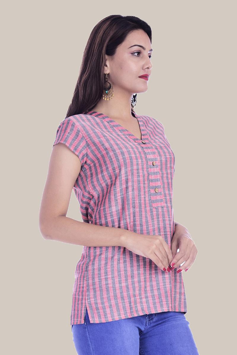 Pink Gray Stripe Half Sleeve Cotton Women Top-34013