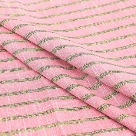 Pink Gray Stripe Handloom Cotton Fabric-40902