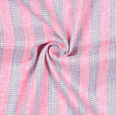 Pink Gray Striped Handloom Cotton Fabric-40799