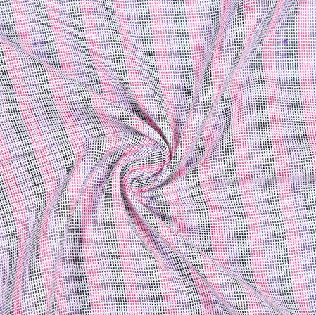 Pink Gray Striped Handloom Cotton Fabric-40842
