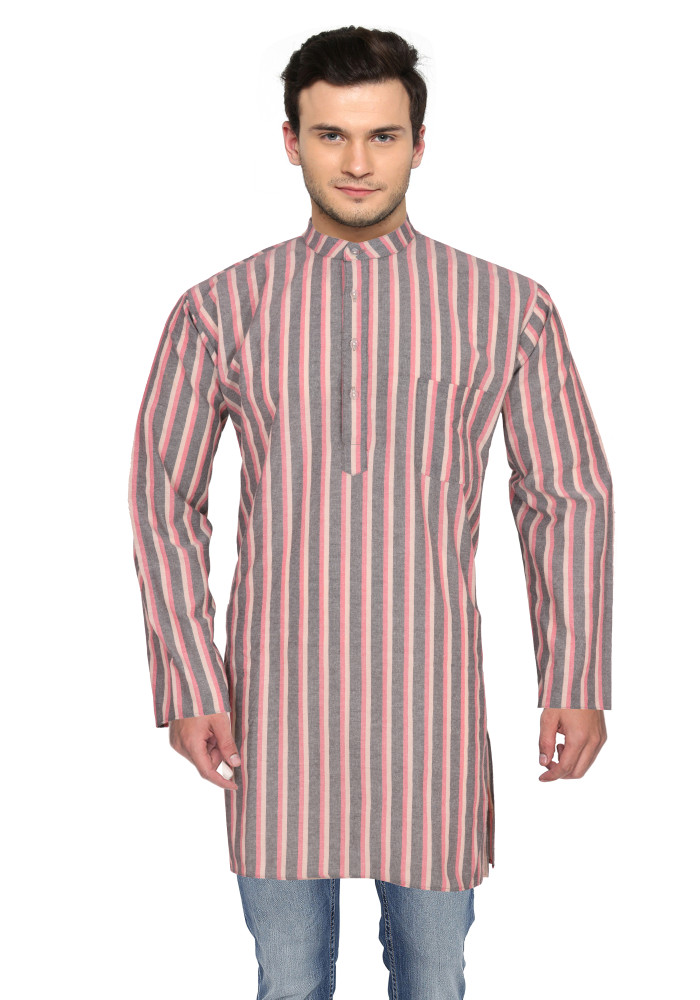 Pink Gray Stripes Handloom Khadi Long Kurta-33185