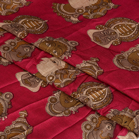 Pink-Gray and Cream Kuchipudi Kalamkari Manipuri Silk Fabric-16340