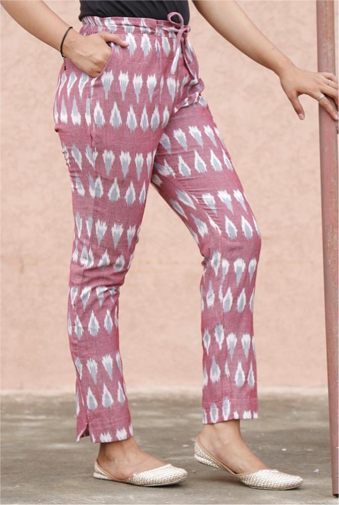Pink Gray and White Cotton Ikat zig zag Narrow Pant-33883