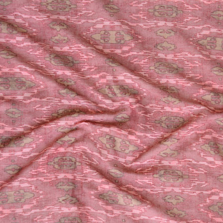 Pink Gray ikat two tone Rayon Fabric-15186