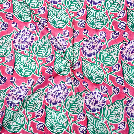 Pink Green Block Print Cotton Fabric-14734