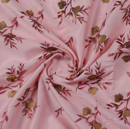 Pink Green Block Print Cotton Fabric-16211