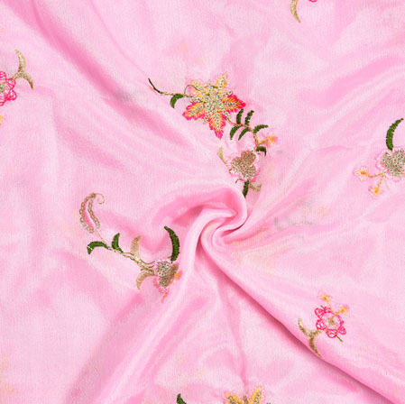 Pink Green Embroidery Silk Chinon Fabric-18629