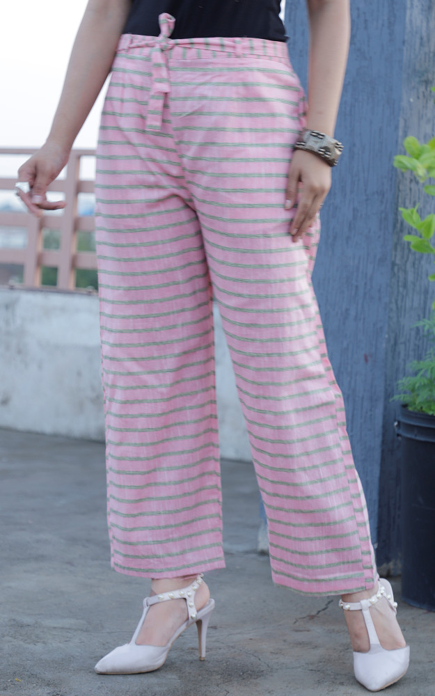 Pink Green Cotton Stripe Pant with Belt-33645