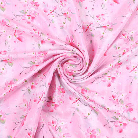 Pink Green Crepe Silk Fabric-18154