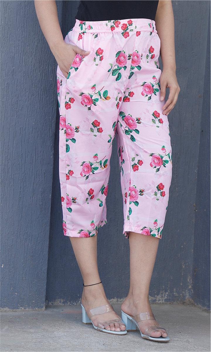 Pink Green Crepe Silk Women culottes-34438