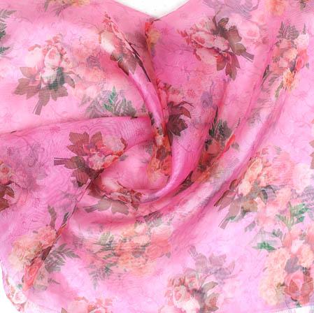 Pink Green Digital Floral Organza Silk Fabric-51745