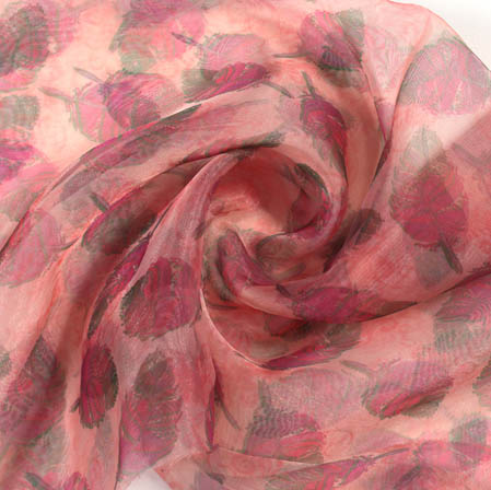 Pink Green Digital Floral Organza Silk Fabric-51807