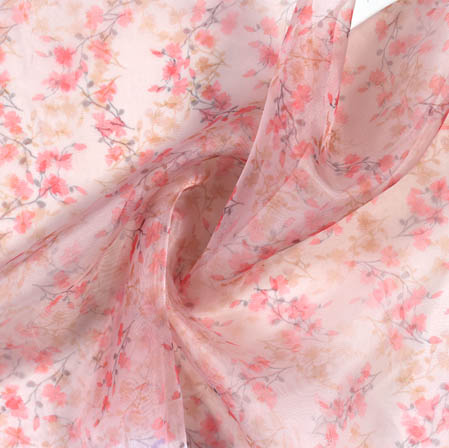 Pink Green Digital Floral Organza Silk Fabric-51813