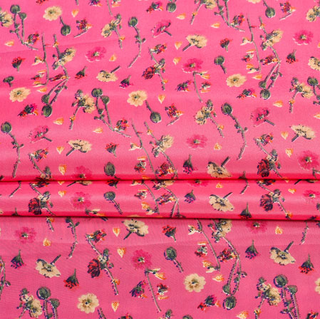 Pink Green Digital Flower Print Georgette Fabric-41179