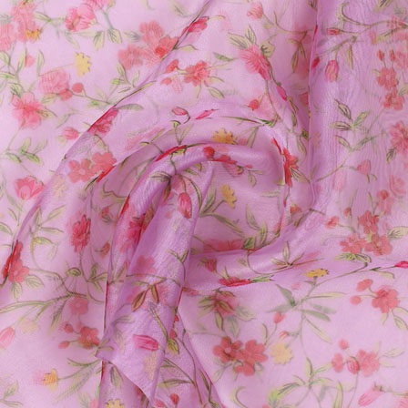 Pink Green Digital Organza Silk Fabric-51554