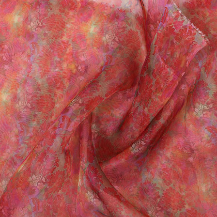 Pink Green Digital Organza Silk Fabric-51573