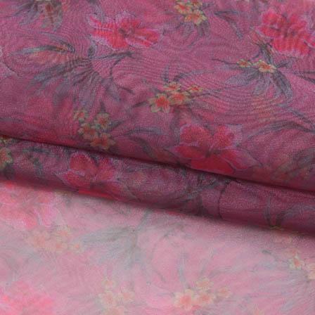 Pink Green Digital Organza Silk Fabric-51734