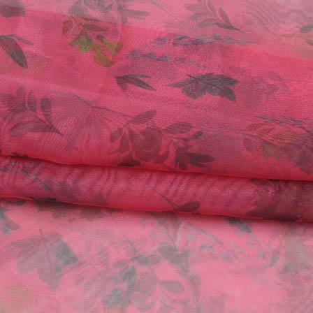 Pink Green Digital Organza Silk Fabric-51735