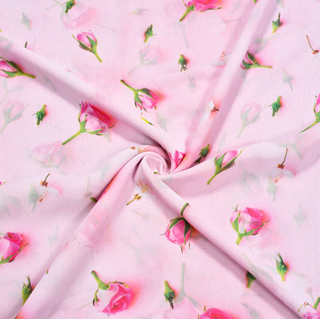 Pink Green Floral Georgette Fabric-41132