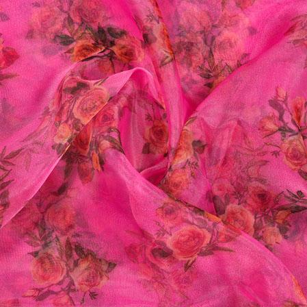 Pink Green Floral Organza Digital Silk Fabric-22344