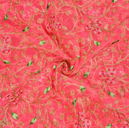 Pink Green Floral Organza Embroidery Fabric-22153